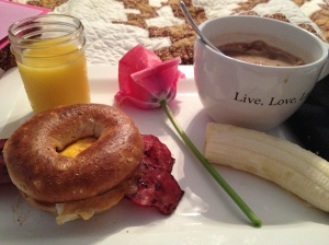 Mmmm....breakfast in bed and HOT coffee.