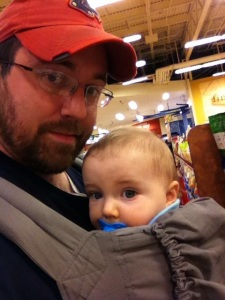 Husband & Little Man grocery shopping